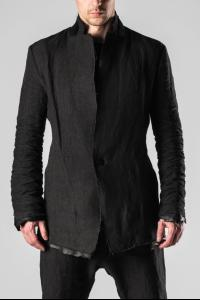 D.HYGEN Leather Trimmed Stacked Sleeve Suit Jacket