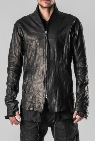 D.HYGEN Thin Leather Extended Mesh Lining Zipped Shirt