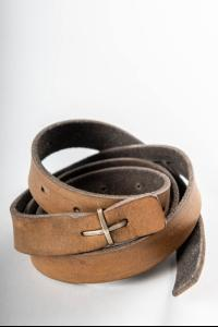 MA+ Silver Cross Buckle Leather Belt