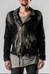 Giorgio Brato Ecru Painted Perfecto Leather Jacket