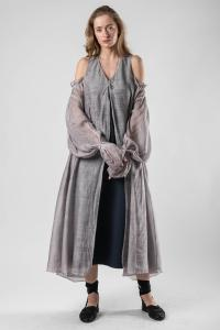 Phaédo Studios Tussah Silk Draped Open Shoulder Silk Dress