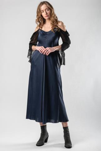Phaédo Studios Open Shoulder Long Sleeve Silk Dress