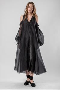 Phaédo Draped Open Shoulder Silk Dress