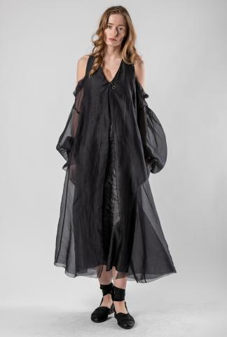 Phaédo Draped Open Shoulder Silk Dress