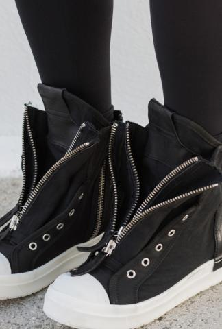 CA by Cinzia Araia Double Zipped Nylon High-top Sneakers with Leather Heel
