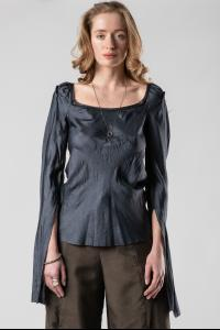Phaédo Studios Tussah Silk Ruched Shoulder Long Sleeve with Rib Panel
