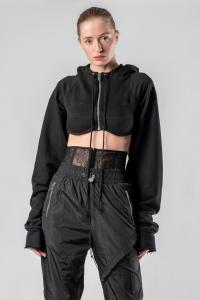 IANUA cropped hooded  zipped top SEATTLE
