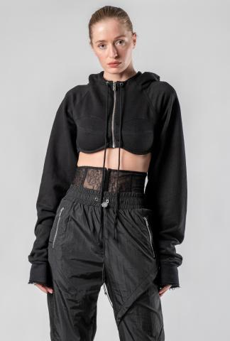 "IANUA ""Seattle"" Cropped Zipped Integrated Bra Hoodie"