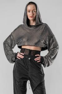IANUA cropped hooded top Swarovski BRAVE