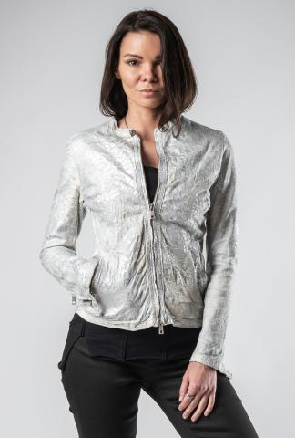 Giorgio Brato Silver Coated Lamb Leather Racer Jacket