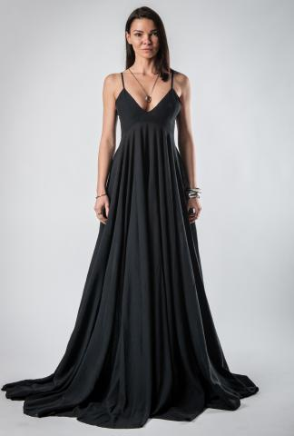 139DEC Long Pleated Dress