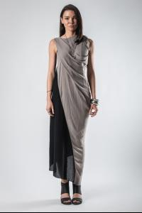 139DEC Two-colour Draped Dress