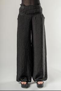 Alessandra Marchi Tonal Striped Exposed Zipper Wide Trousers