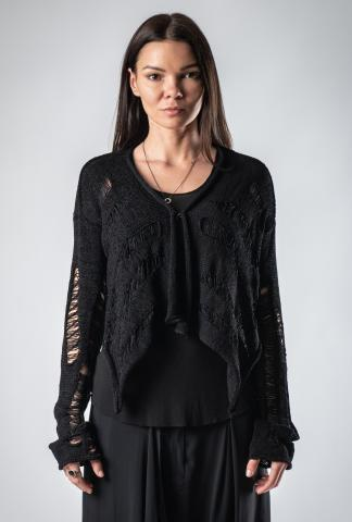 Alessandra Marchi Short Distressed Knit Cardigan