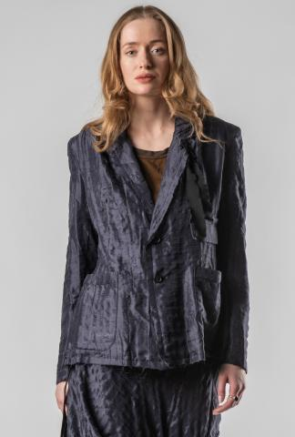 Aleksandr Manamis Uneven Textured Raw Edge Silk Blazer