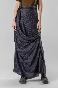 Aleksandr Manamis Uneven Textured Raw Edge Silk Draped Long Skirt