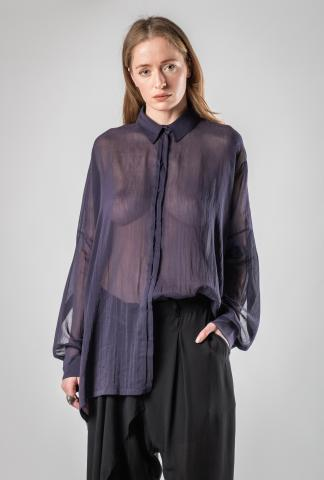 Isabel Benenato Pleated Oversized Silk Blend Shirt