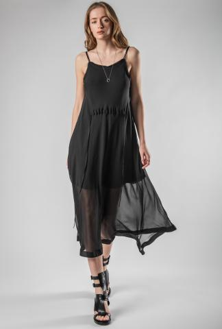 Isabel Benenato 2-strap silk dress