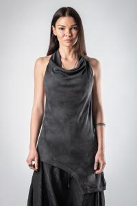 Lemuria Asymmetric Draped Collar Top