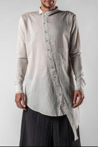 Aleksandr Manamis Striped Asymmetric Raw Hem Shirt