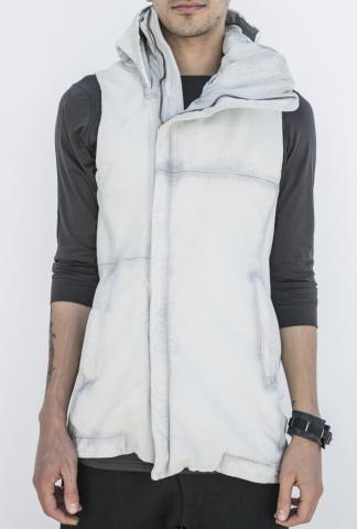 Devoa Sheep Leather Hooded Gilet