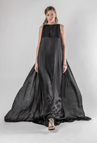 Ann Demeulemeester Long Double Layered Silk Dress (Nanette Black)