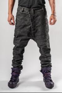 Boris Bidjan Saberi P23 Vinyl Processed Baggy Low-crotch Jeans
