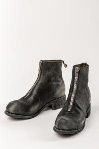 Guidi PL1RU BLKT Distressed Horse Reverse Leather Front-zip Boots