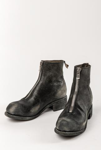 GUIDI PL1, Front Zip Boots, black-treated leather