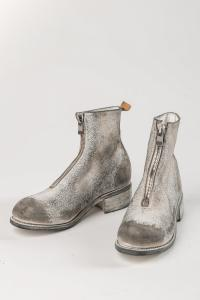 GUIDI PL1, low Front zip boots, white-treated leather