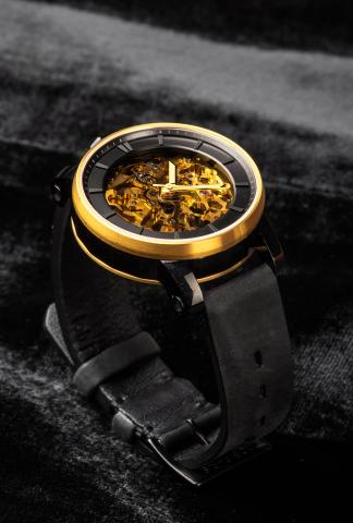 FOB Paris Rehab 360 Exposed Skeleton Watch with Suede Calf Leather Strap