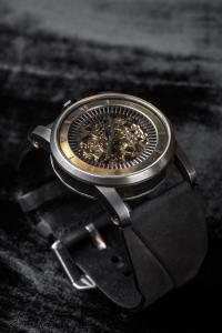 FOB Paris Rehab 413 Exposed Skeleton Watch with Suede Calf Leather Strap
