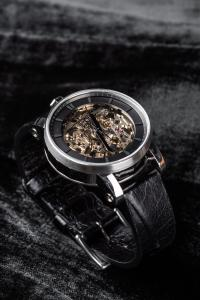 FOB Paris Rehab 360 Exposed Skeleton Watch with Cracked Calf Leather Strap
