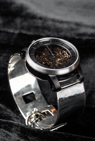 FOB Paris Rehab 360 Exposed Skeleton Watch with Metal Strap