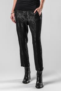 Ann Demeulemeester Slim Cropped Flower Trousers (Minerva Black)