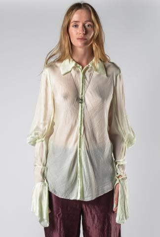 Phaédo Studios Silk Blend Elongated Draped Sleeve Button-up Shirt