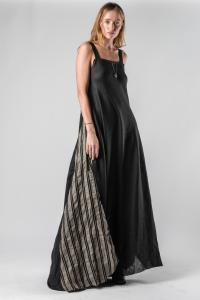 Un-Namable Striped Panel Long Dress with Back Button Closure
