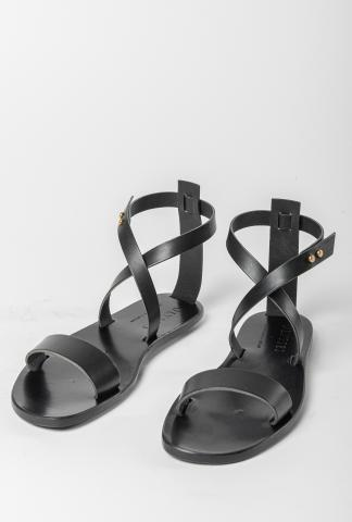 Ulysses by Dimissianos & Miller Crossed-over Ankle Strap Leather Sandals