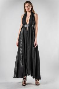 Theodora Bak Low Cut Dress with Leather Belt