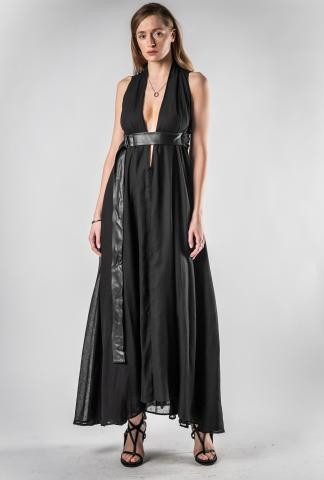 Theodora Bak Low Cut Dress with Leather Belt