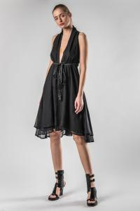 Theodora Bak Low Cut Short Dress with Belt
