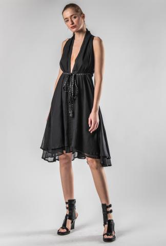 Theodora Bak Low cut Linen Belt Short Dress