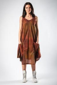 Lurdes Bergada Copper Hue Printed Dress