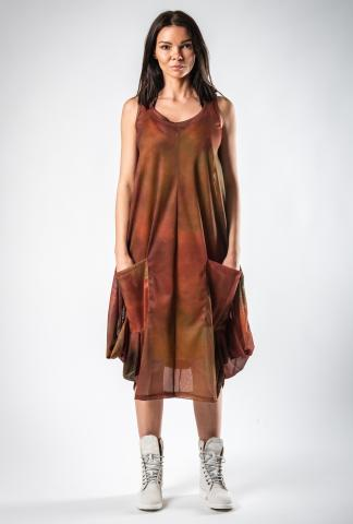 Lurdes Bergada Copper Hue Printed Draped Dress