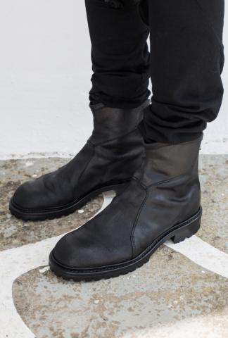 Julius_7 497FWM1-S Reversed + Full Grain Leather Back-zip Tank Boots