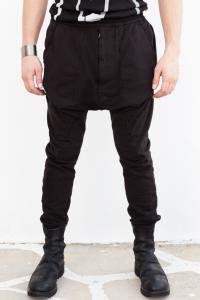 Julius_7 477PAM25 Geometric Panel Low-crotch Slim Joggers