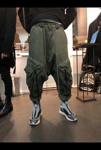 Low Crotch Loose Cargo Cropped Trousers