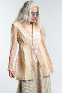 A Tentative Atelier Jonquill Translucent Silk and Metal Blend Blazer