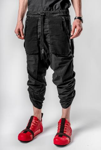Boris Bidjan Saberi Black Cropped Adjustable P28 Trousers