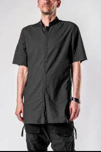 Boris Bidjan Saberi SHIRT4 Perforated Mandarin Collar Short Sleeve Button Up